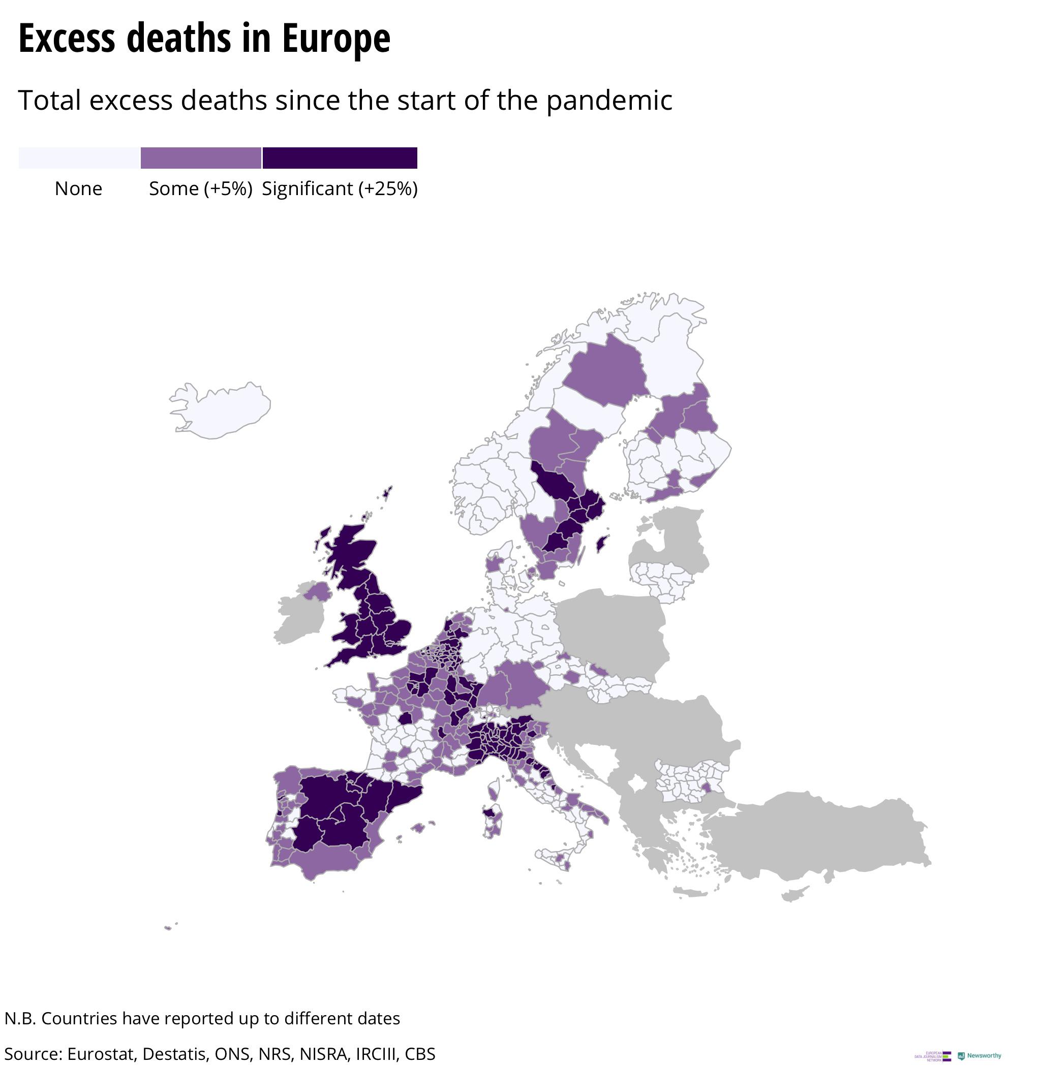Excess deaths across Europe